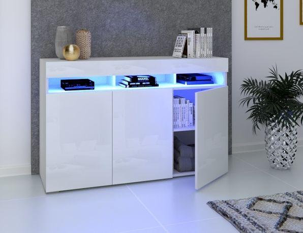 Szafka Komoda Luna 3D Wysoki Połysk  Biała Sonoma Craft Ledy Komoda