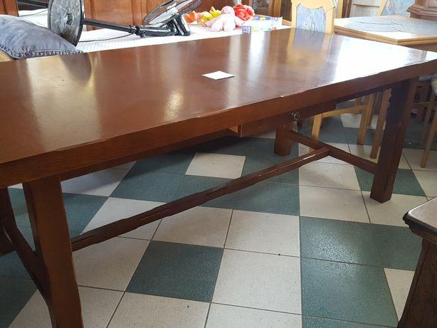 Stół 197cm rustykalny dębowy ciemny nierozkladany  dąb