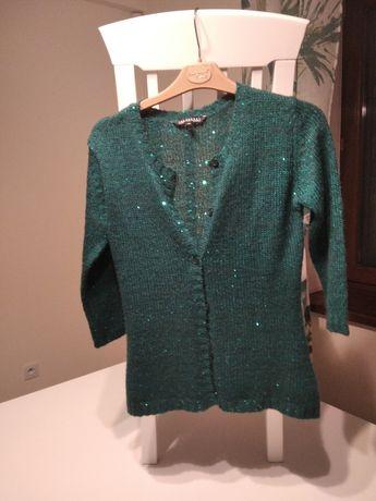 Szmaragdowy zielony sweterek z cekinami Top Secret rozmiar 36