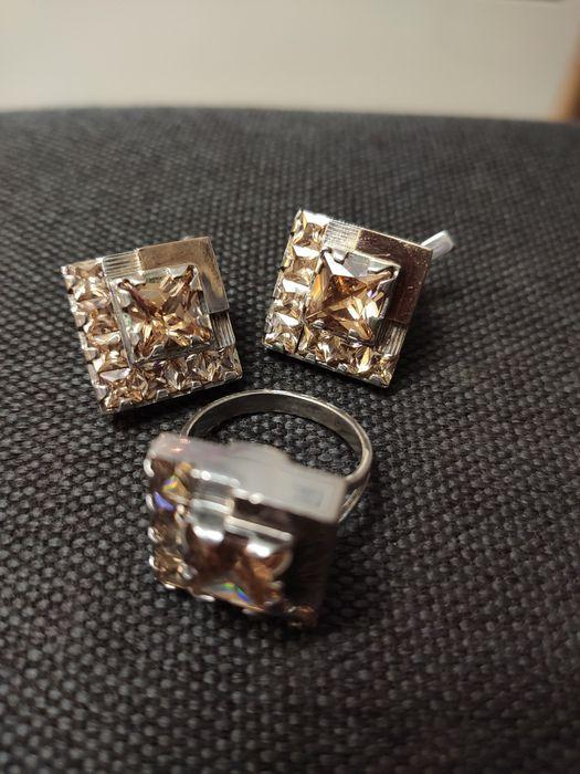 Комплект серебряный с золотом (перстень и серьги) Киев - изображение 1