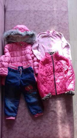 Весенние вещи для девочки, куртка, джинсы, регланчик на 3г.