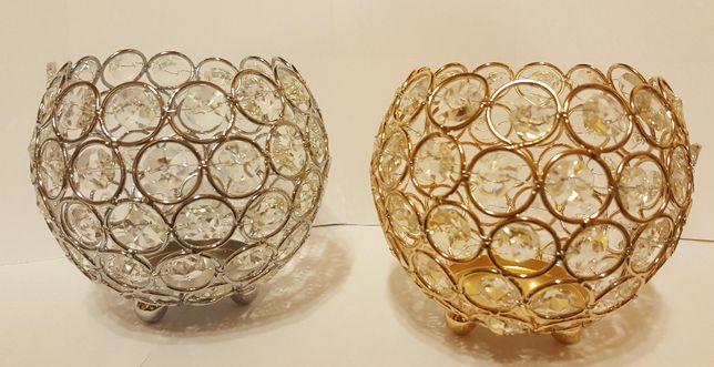 świecznik z kryształkami srebrny lub złoty-nowe