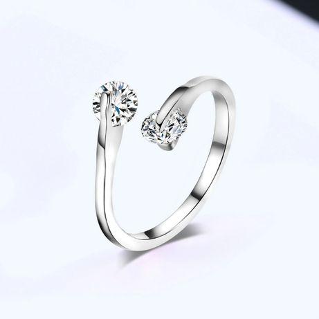 Nowy pierścionek srebrny kolor białe cyrkonie otwarty elegancki skromn
