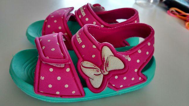 Sandały dla dziewczynki rozm 24, różowo zielone,