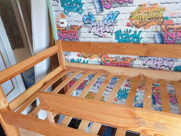 Antresola z materacem - łóżko - drewno