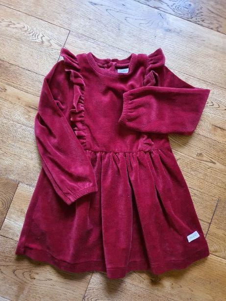 Sukienka welurowa KappAhl NEWBIE rozm. 92 - czerwona