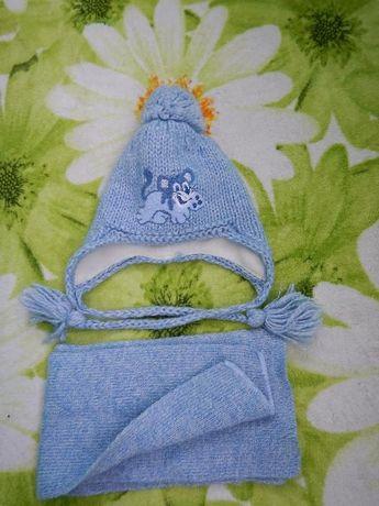 Шапочка зимняя с шарфиком на мальчика