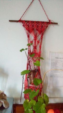 """lindo suporte de flores em macrame fio de seda"""" novo"""""""