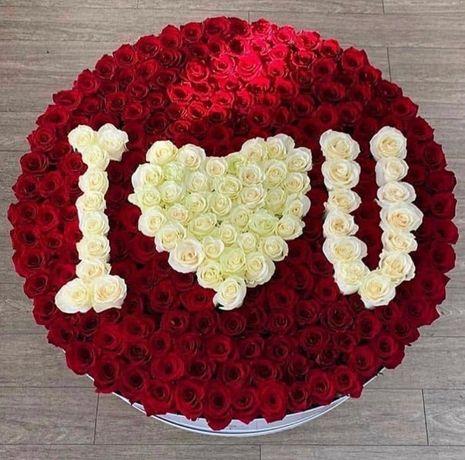 Букет красных/белых Роз с бесплатной Доставкой по всей Одессе