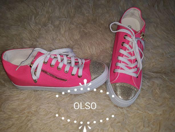 trampki różowe neon 39