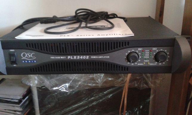 Amplificador QSC 2 x 1200 w + 2 colunas 500w cada+microfone AKG s/fios