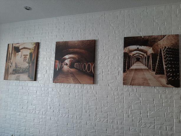 Obrazki na ścianę w zestawie 3 szt, wymiar 50x50, Włochy, Hiszpania,