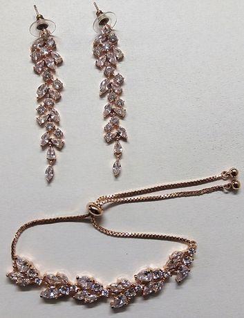 Kolczyki i bransoletka Rose Gold ślubne