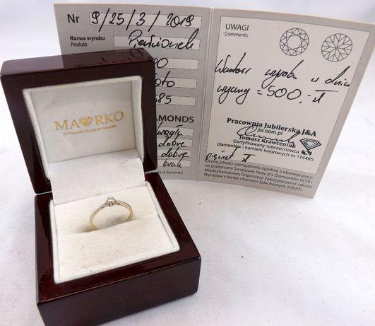 Przepiękny złoty pierścionek z diamentem 1,20G 585