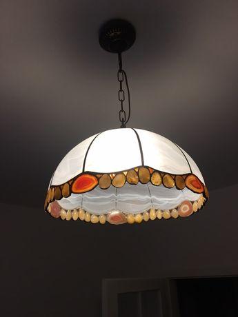 Lampa witrazowa z kamieniami szlachetnymi/duza