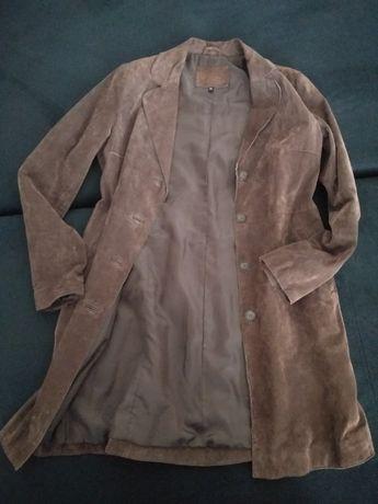 Zamszowy płaszcz 40