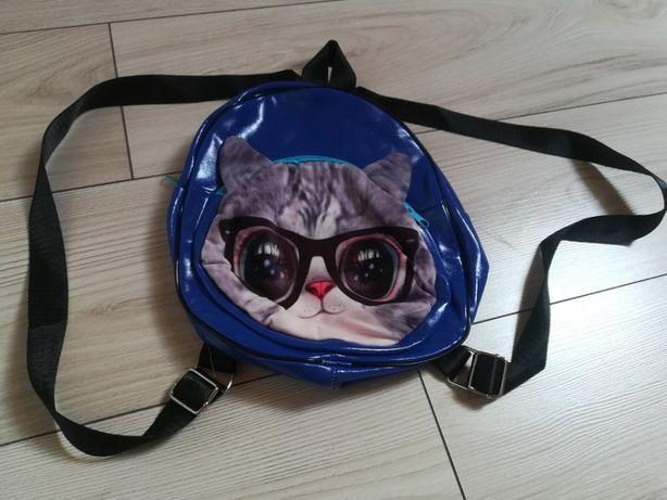 Niebieski plecaczek z ekoskórki z kotem