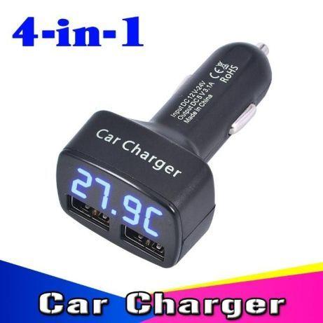 Зарядка для авто с двумя usb, Вольтметром, Амперметром и Термометром