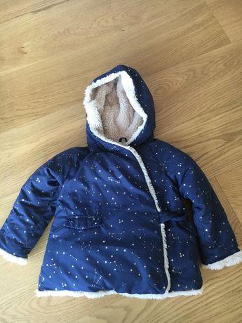 Śliczna ciepła zimowa kurtka dla dziewczynki ZARA r.98