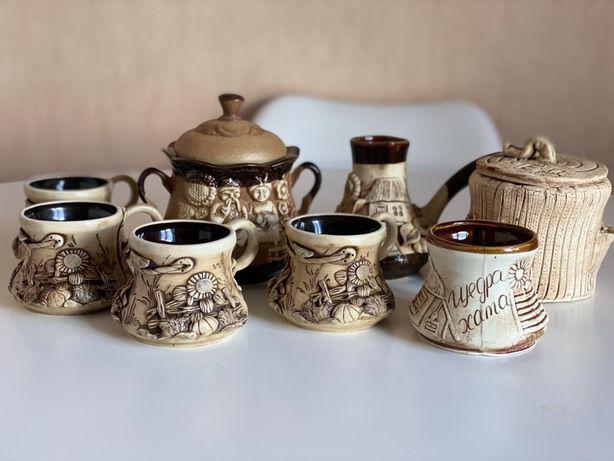 Новый набор глиняной посуды ручной работы