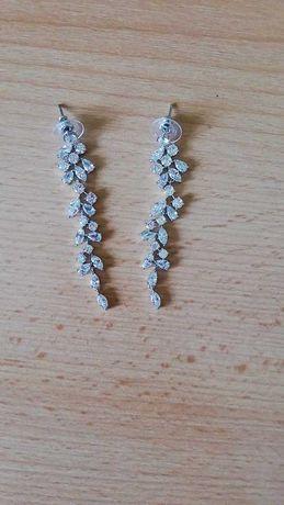 Kolczyki  ślubne długie z kryształkami - lekkie