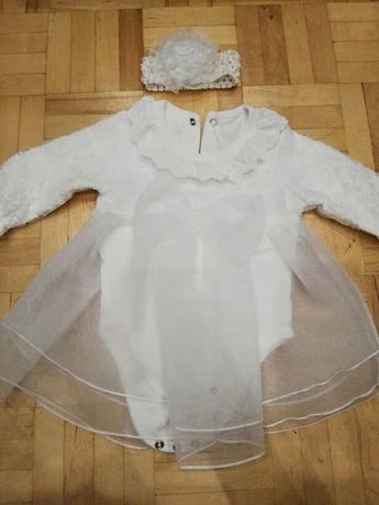 Sukienka do chrztu+buciki+2 opaski Piekna!