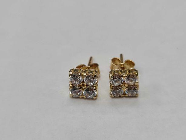 Piękne złote kolczyki damskie/ 585/ 1.70 gram/ Bezbarwne cyrkonie