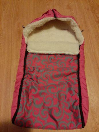 Śpiworek ocieplacz do wózka sanek różowy amarantowy
