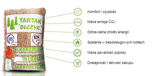 Pellet Olczyk Pelet certyfikowany najwyższa jakość eko A1 En plus