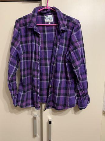 fioletowa flanelowa koszula