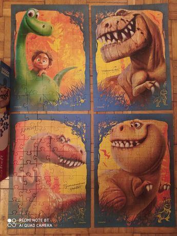 Puzzle 4 zestawy  w 1 DINOZAURY