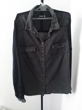 Szara koszula z czarnymi rękawami Sinsay
