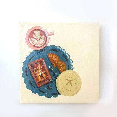 Obraz na płótnie ilustracja własna | śniadanie kolorowy kawa