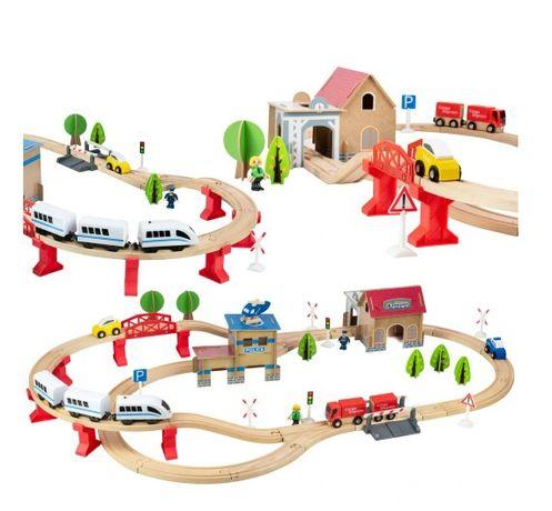 Детская деревянная дорога, локомотив на батарейках Kruzzel