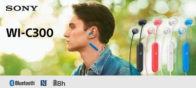 SONY WI-C300 * Douszne słuchawki bezprzewodowe BT NFC pilot mikrofon
