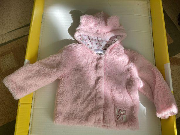 Куртка шуба розовая с ушками 9-18 мес.