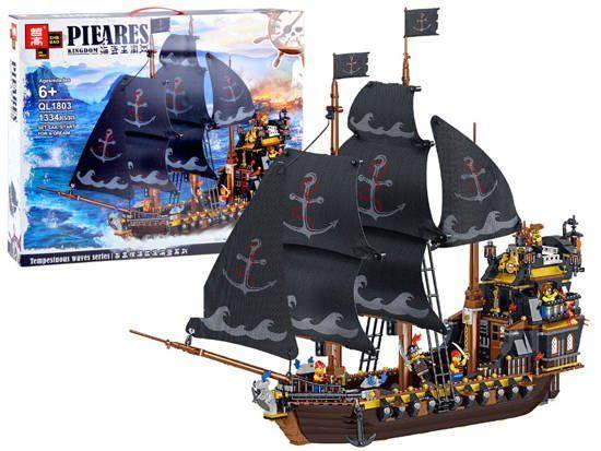 Klocki Techniczne Czarny Statek Piracki 1334 elementów