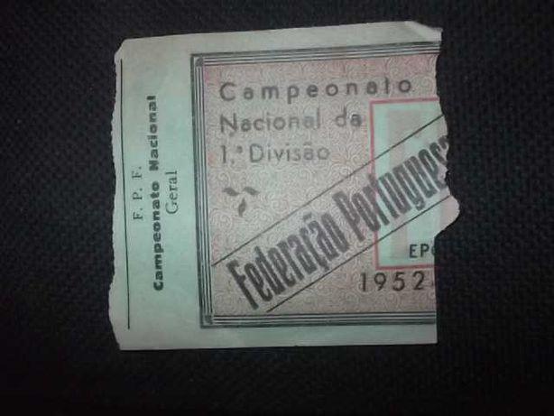 MEGA/RARO Bilhete 1952 SPORTING 3 (Campeão) BENFICA 2 Estádio Nacional
