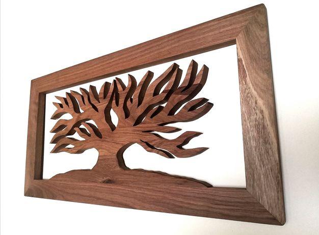 Drewniany obraz dębowy drzewo + rama , ażurowy
