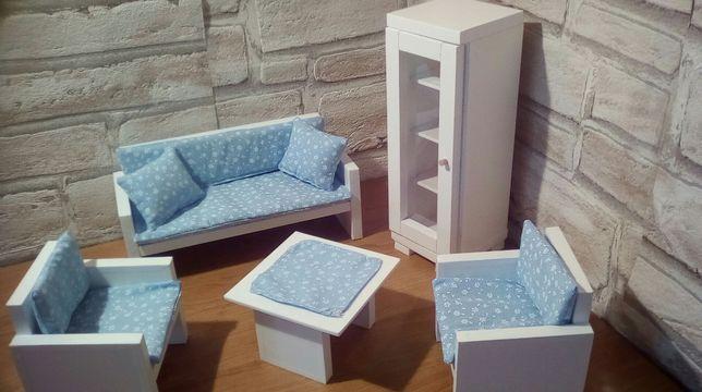 Salon dla lalek Sofa,2x Fotel,Stolik,Witryna