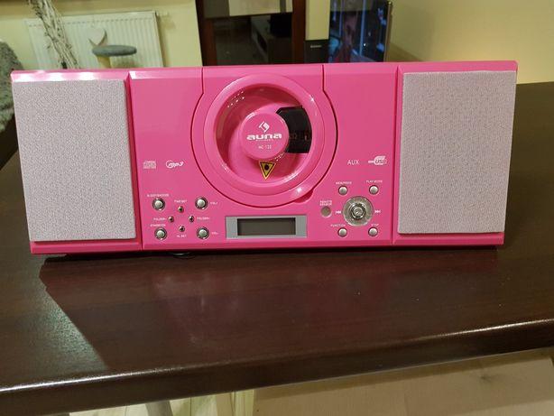 MC-120 Zestaw stereo wieża CD Nowe różowe i czarne scienny i stojacy