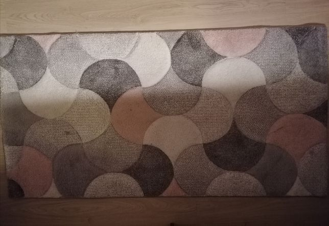 Różowo szary  dywan we wzory gruby 80/150