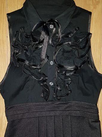 Czarna bluzka tunika bez rękawów z żabotem r. S/M  36/38