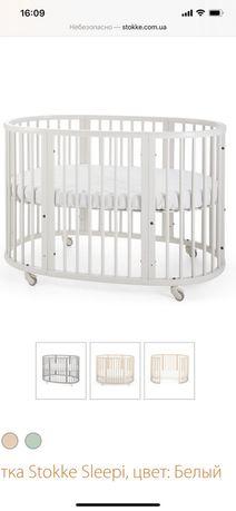 Красивая, удобная, деревянная  детская кроватка стокке оригинал, белая