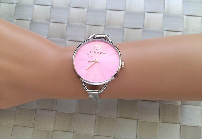 Damski zegarek Calvin Klein, srebrny z różowym cyferblatem