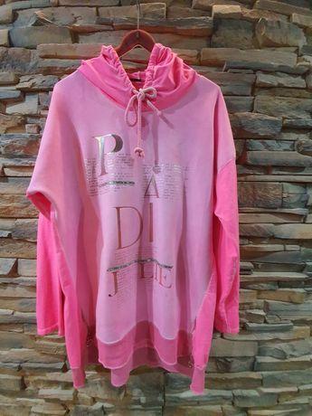 Bluza różowa zameczki,  print