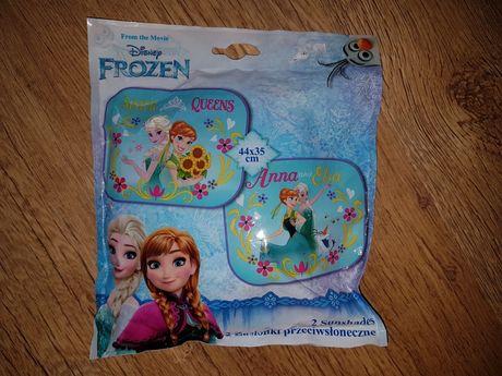 2 nowe zasłonki przeciwsłoneczne do auta Anna i Elsa