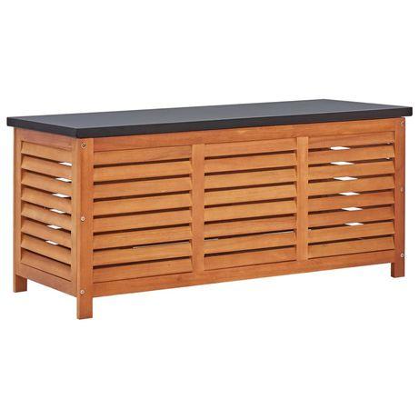 vidaXL Caixa arrumação p/ jardim 117x50x55 cm madeira eucalipto maciça 47285