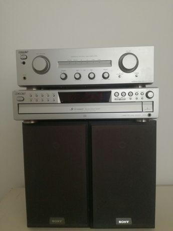 Amplificador e leitor de CD SONY + colunas