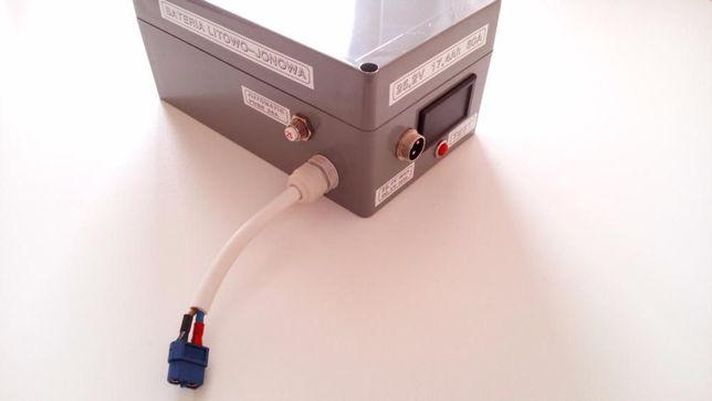 Bateria 24v 17,4Ah li-ion z miernikiem + ładowarka montaż na bagażniku
